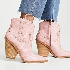 Sam Edelman Iris studded western boots pink croc 6